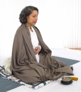 Frances Brown in meditation at Tone Studio, Owen Sound