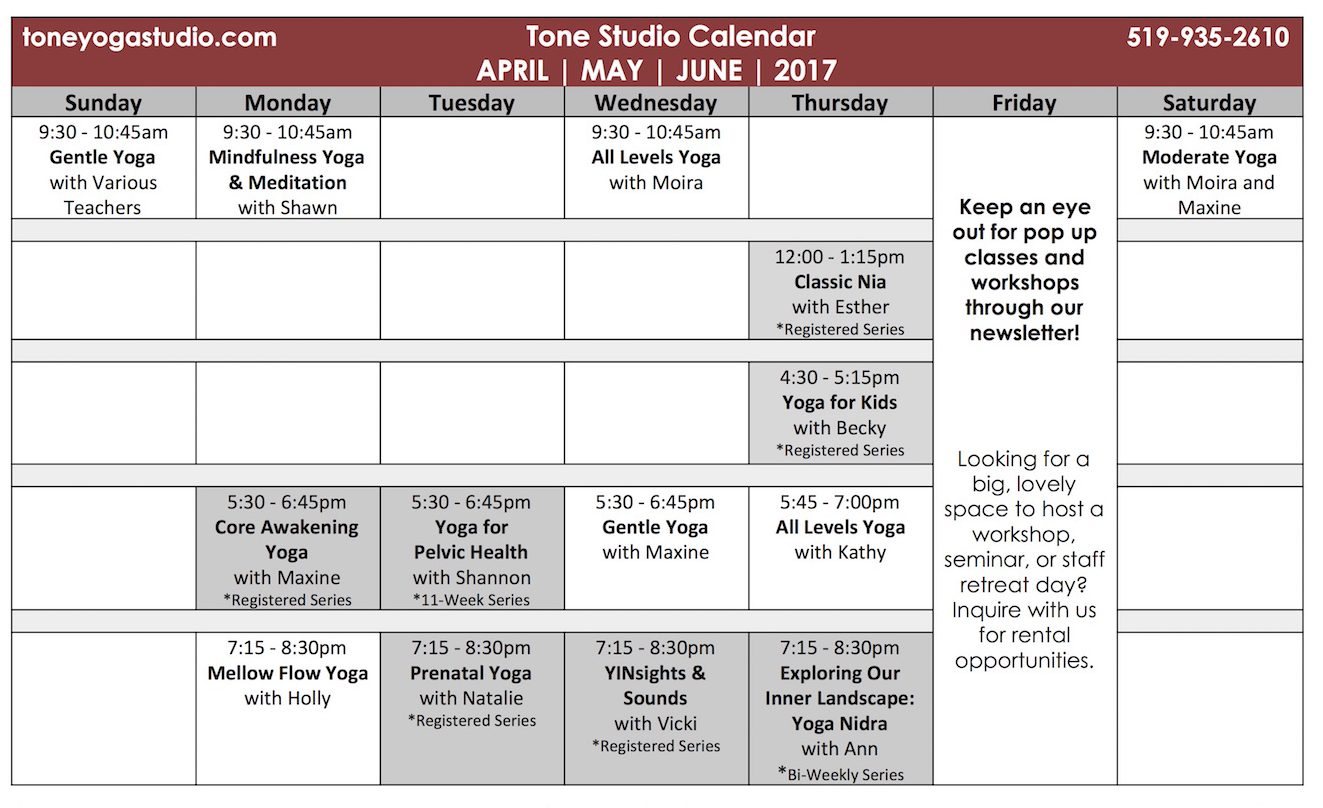 APRIL MAY JUNE 2017 Tone Studio Weekly Classes Calendar