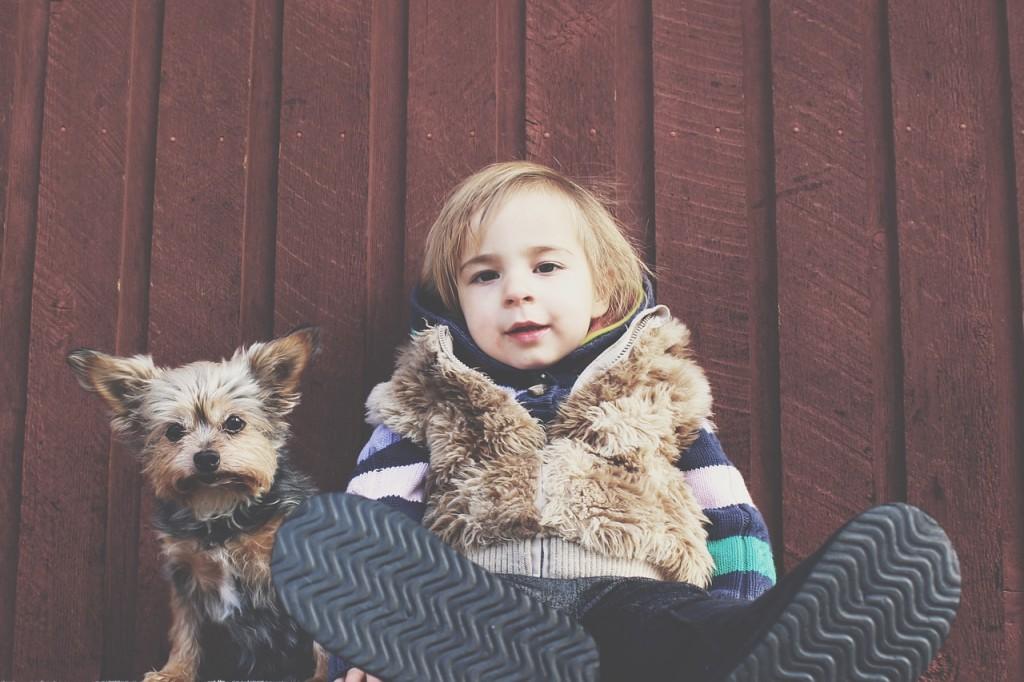 child happy dog