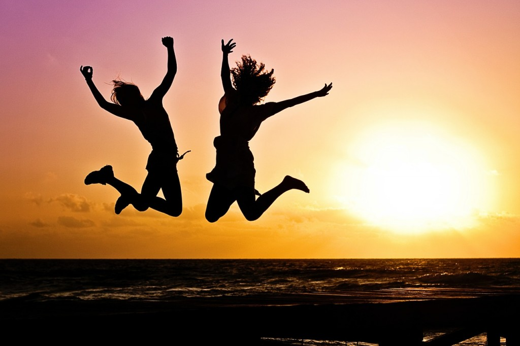 jumping joy sunset