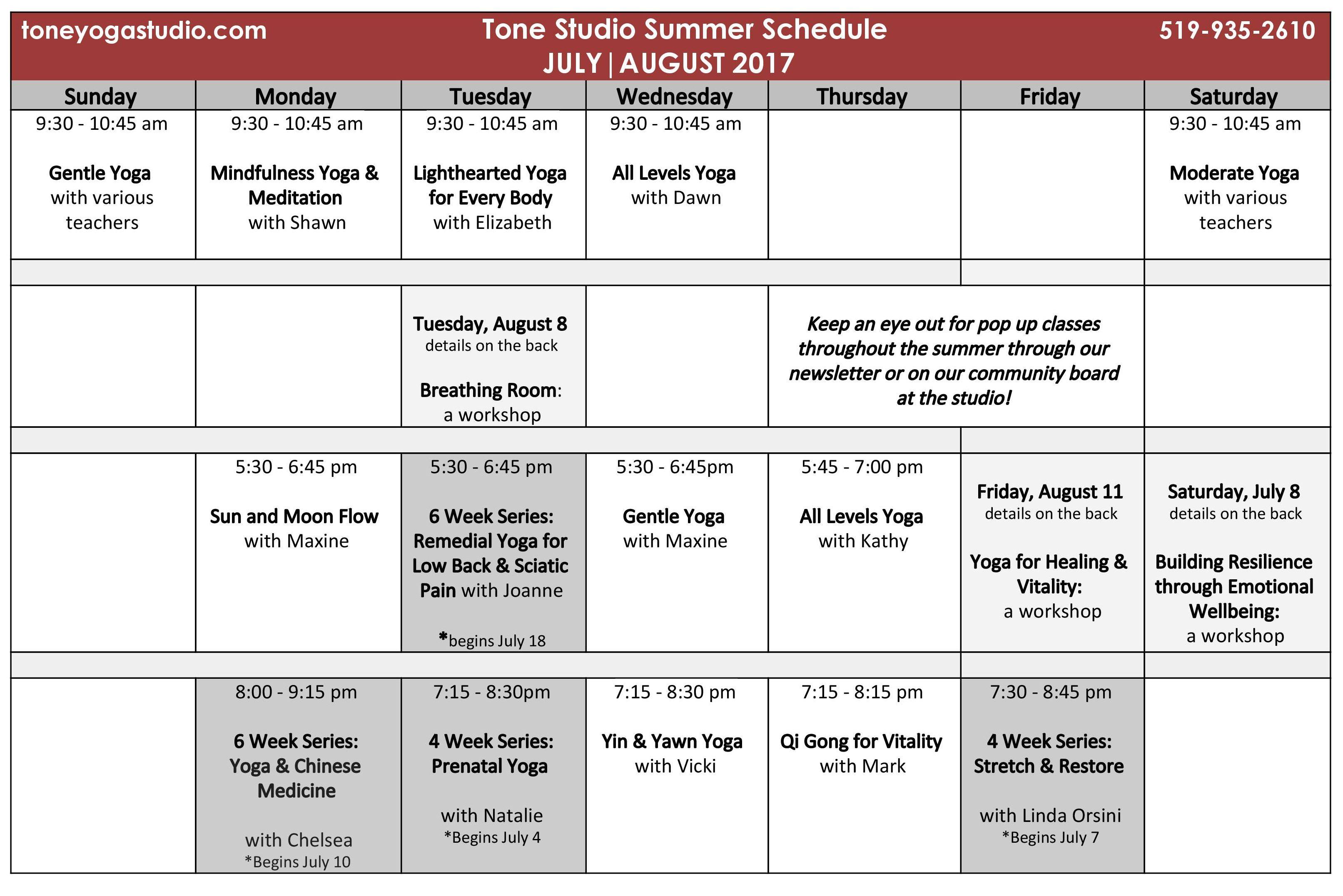 JULY & AUGUST Weekly Summer Schedule